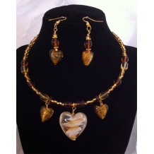 Golden Heart Choker Style Set