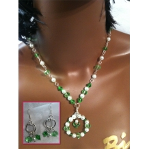 Gone with Green Necklace and  Earring Set