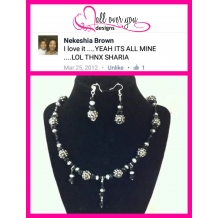 Black and silver necklace earrings set
